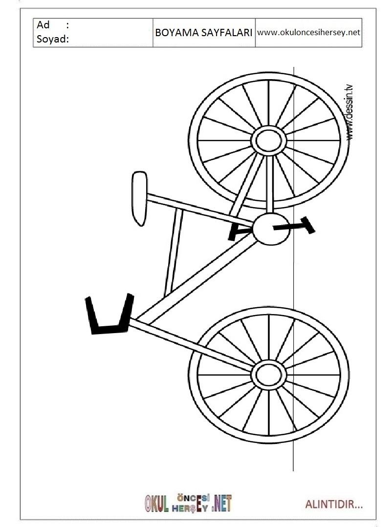 Bisiklet Boyama Sayfaları