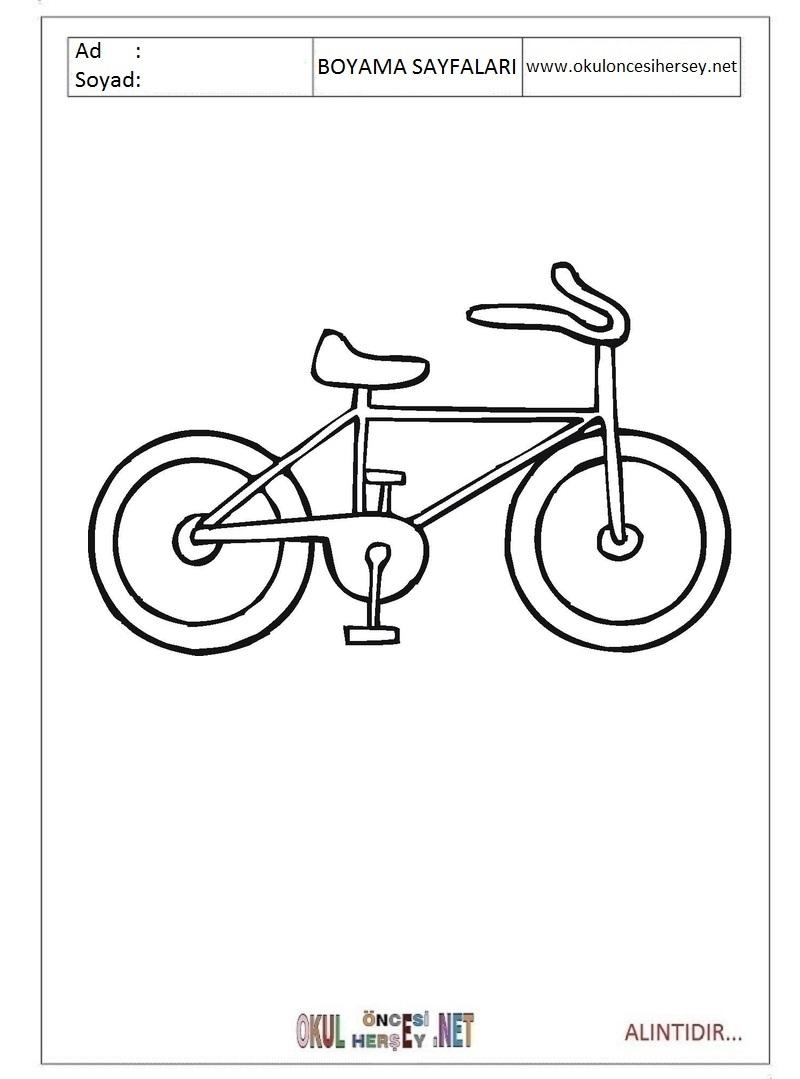 Bisiklet Boyama Sayfalari