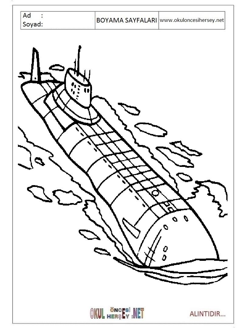 Denizalti Boyama Sayfalari