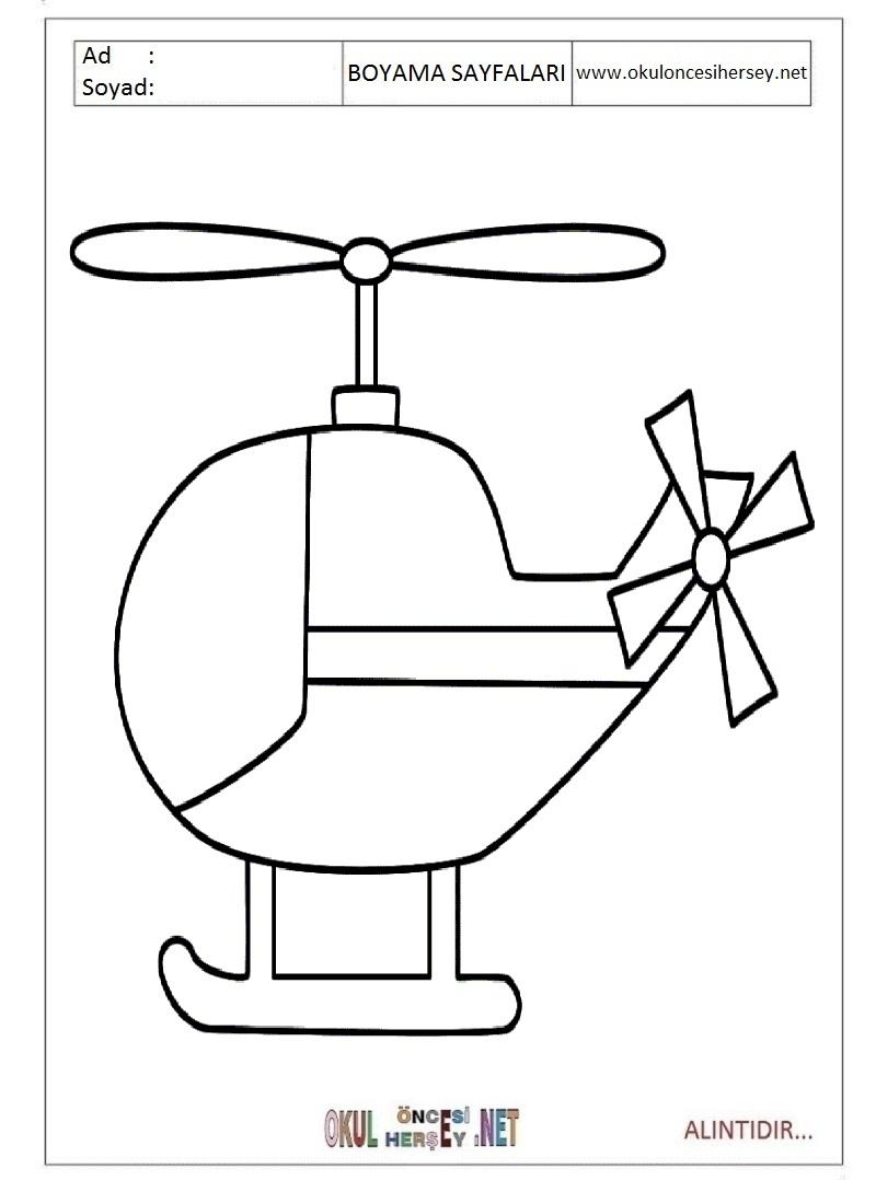Helikopter Boyama Sayfalari