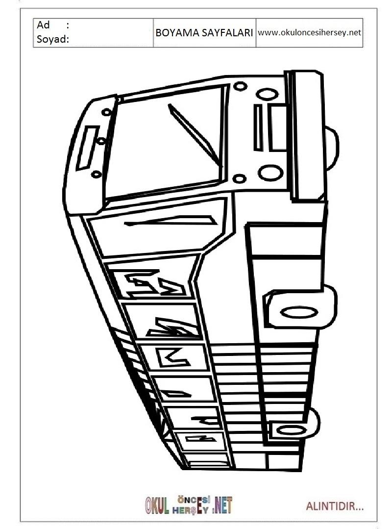 Otobus Ve Yolculari Boyama Sayfasi Once Okul Oncesi Ekibi Forum