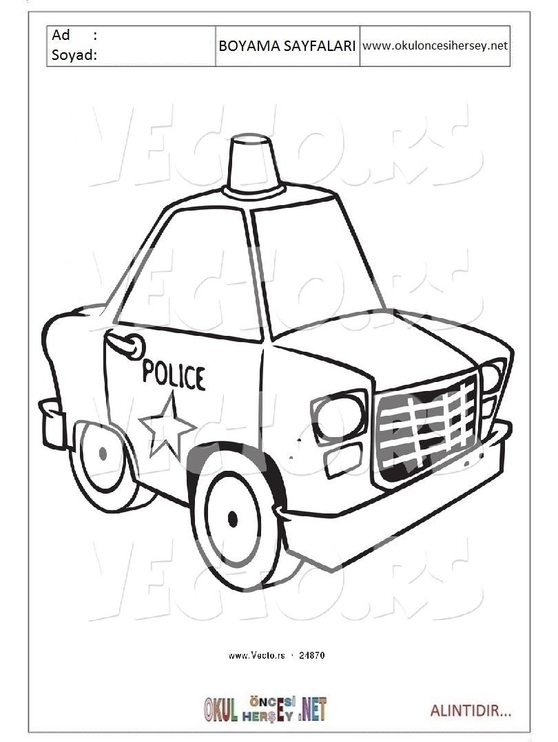 Polis Arabasi Boyama Sayfalari