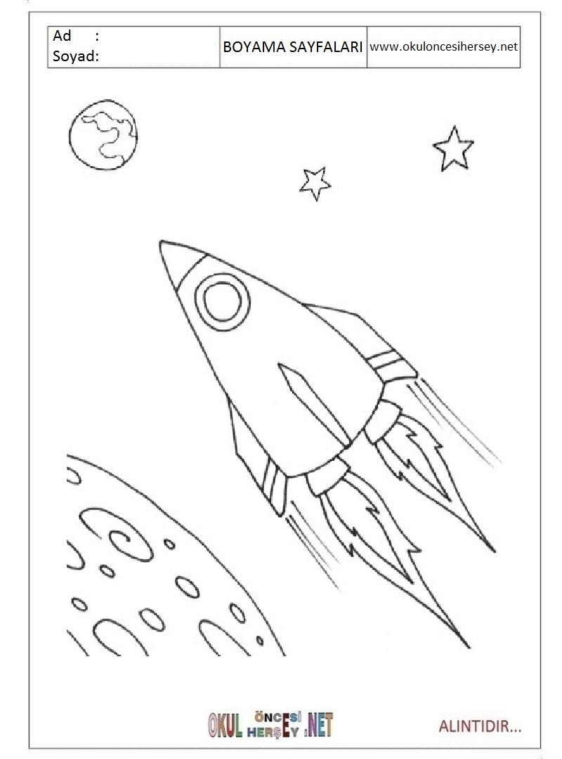 Uzay Gemisi Boyama Sayfalari