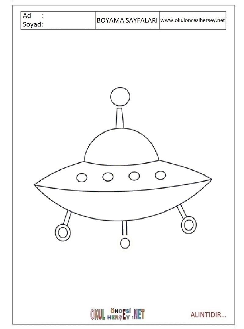 Uzay Gemisi Boyama Sayfaları