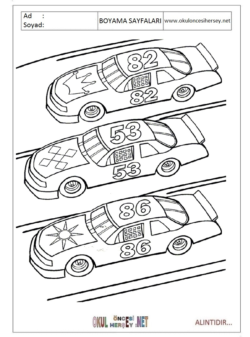 Yarış Arabası Boyama Sayfaları