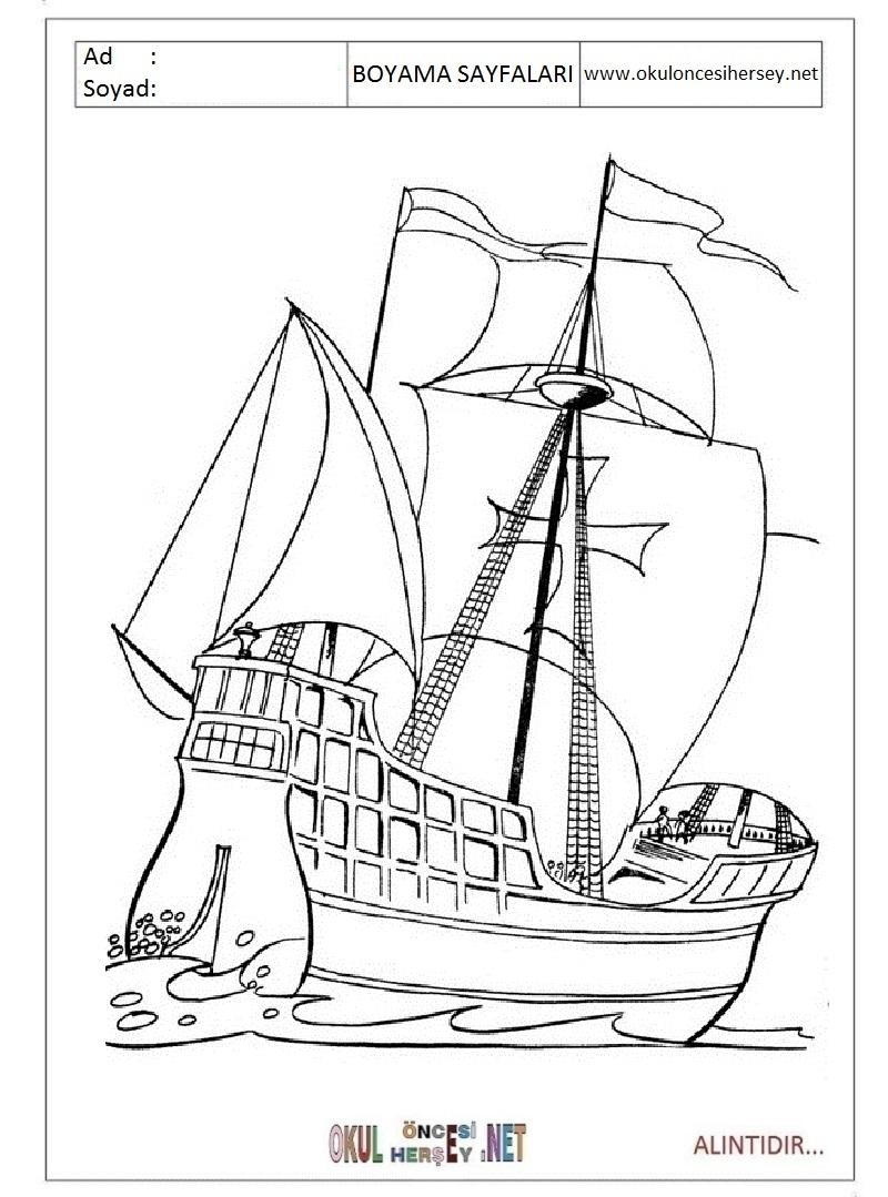 Yelkenli Gemi Boyama Sayfaları