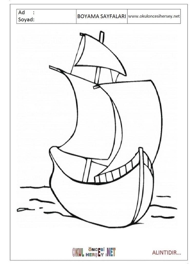 Gemi Resmi Boyama Okul Oncesi Coloring Free To Print