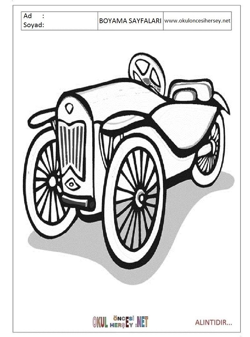 Klasik Arabalar Boyama Sayfalari