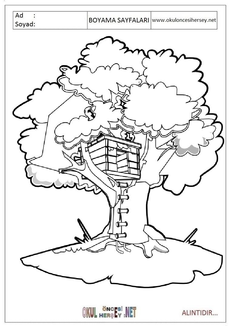 Ağaç Ev Boyama Sayfaları