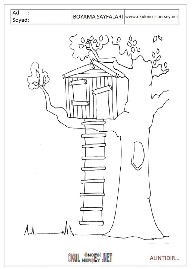 Agac Resmi Boyama Okul Oncesi Coloring Free To Print