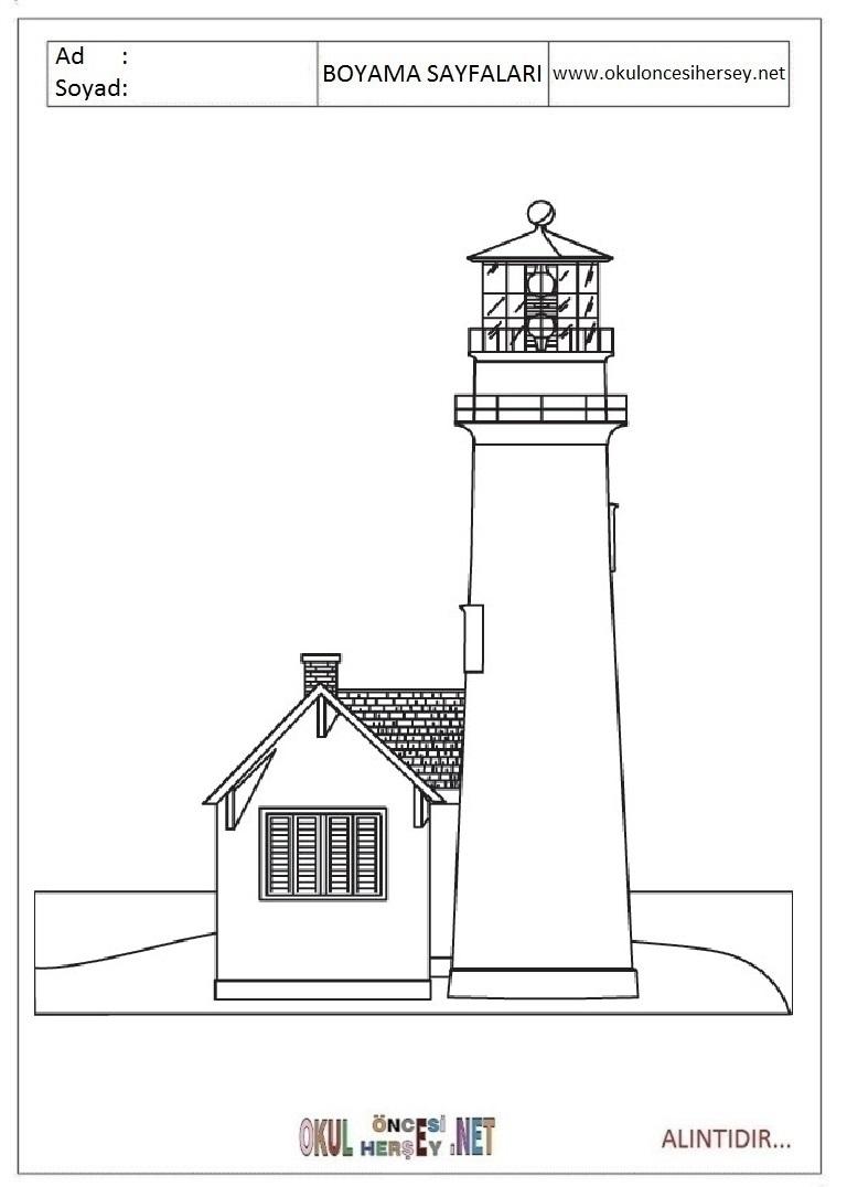 Deniz Feneri Boyama Sayfalari