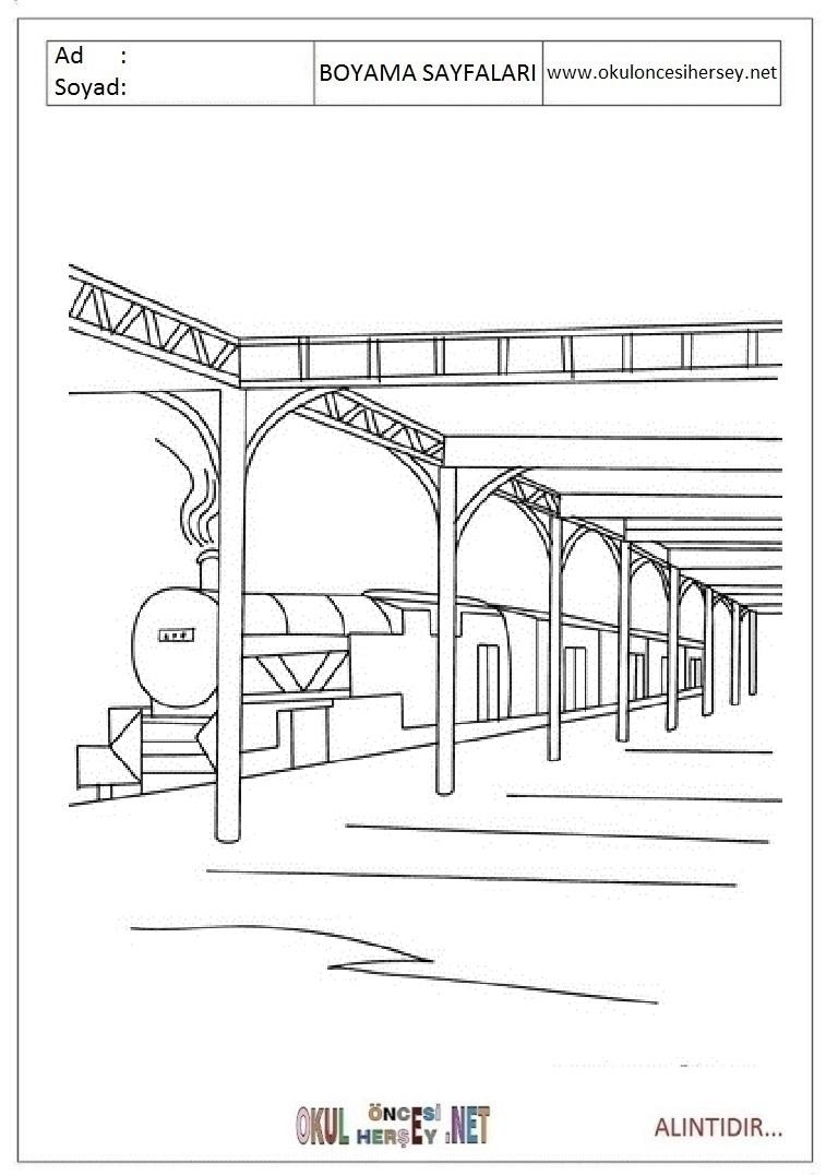 Tren Istasyonu Boyama Sayfalari