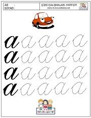 Okul öncesi harfler çizgi çalışması