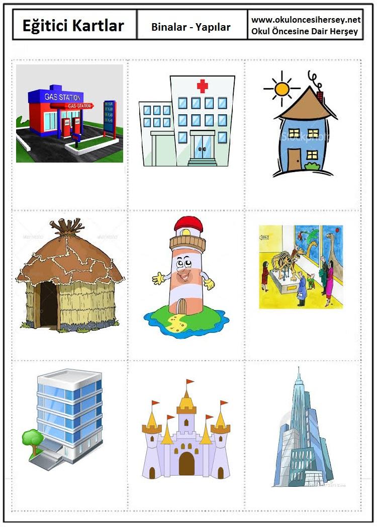 Binalar eğitici kartları binalar eğitici kartları binalar eğitici