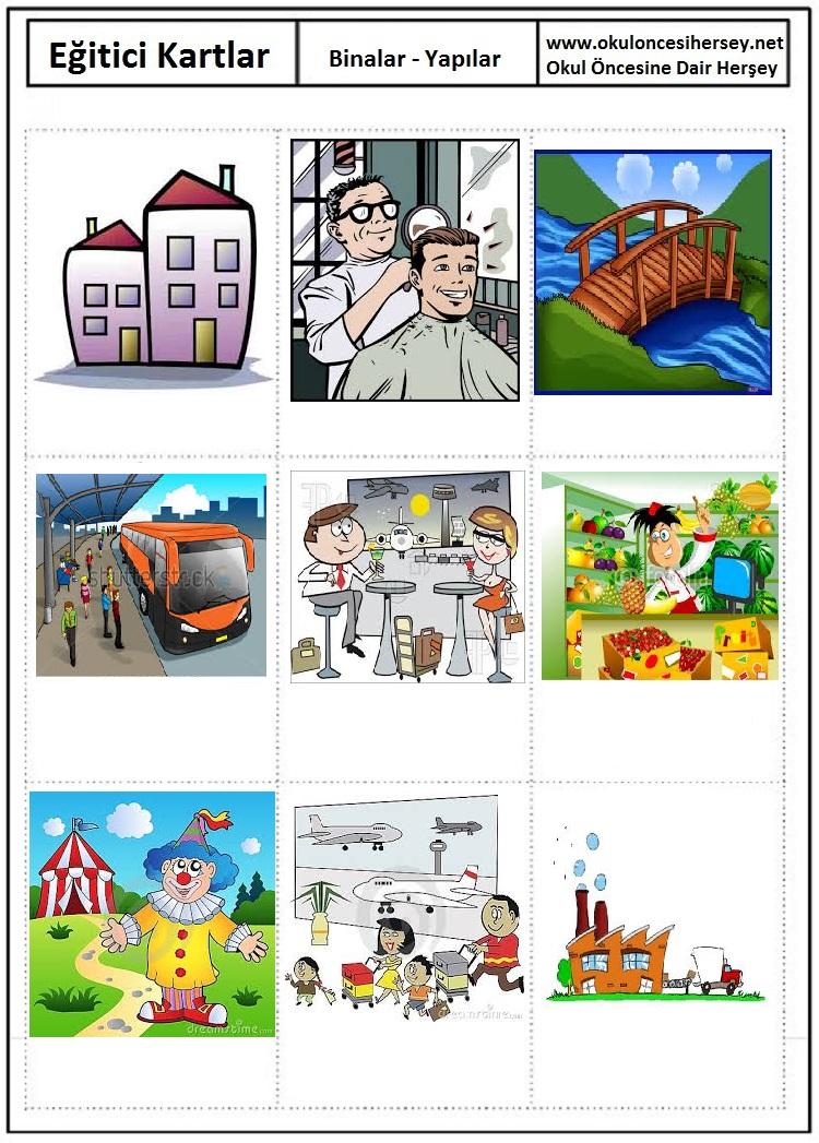 Okul öncesi binalar eğitici kartları
