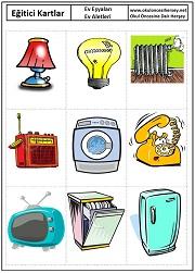 Okul öncesi ev aletleri eğitici kartları