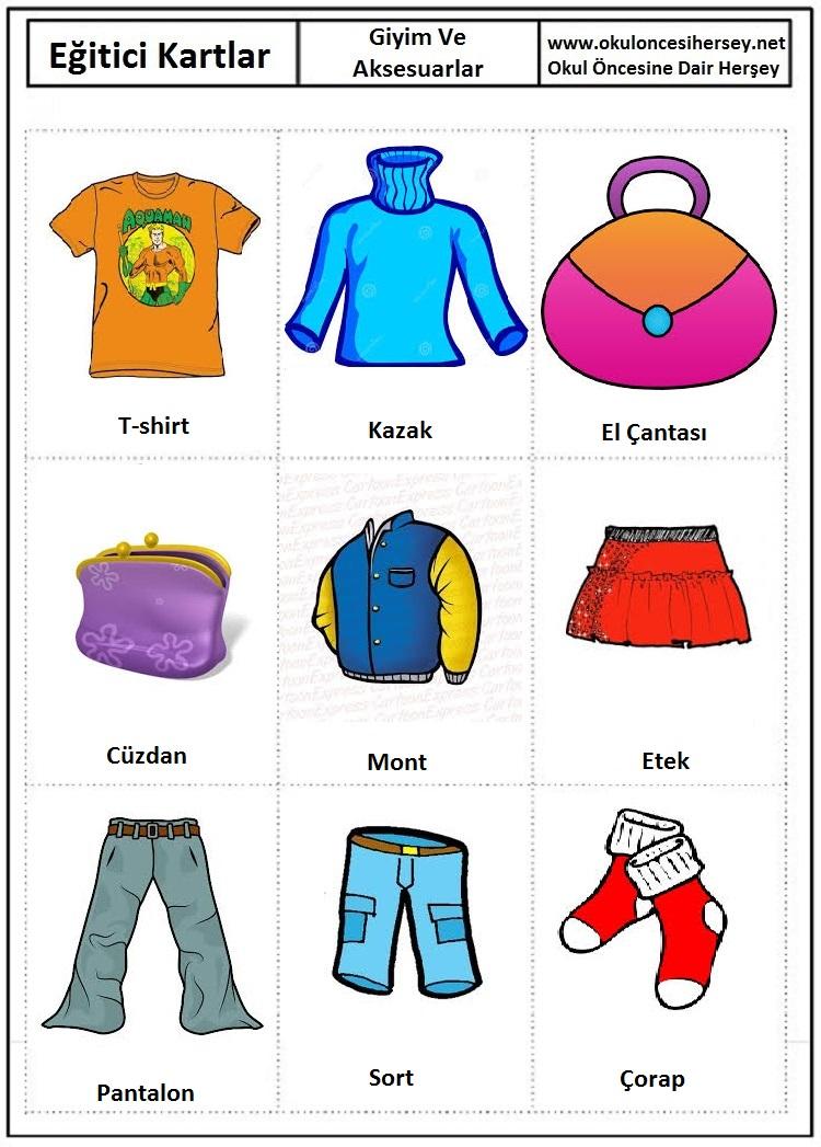 Okul öncesi giyim ve aksesuarlar eğitici kartları