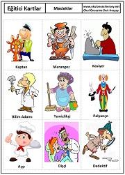 Okul öncesi meslekler eğitici kartları