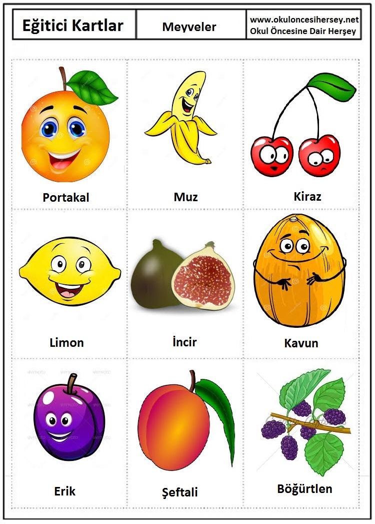 Meyveler Egitici Kartlar