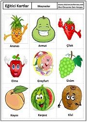 Okul öncesi meyveler eğitici kartları