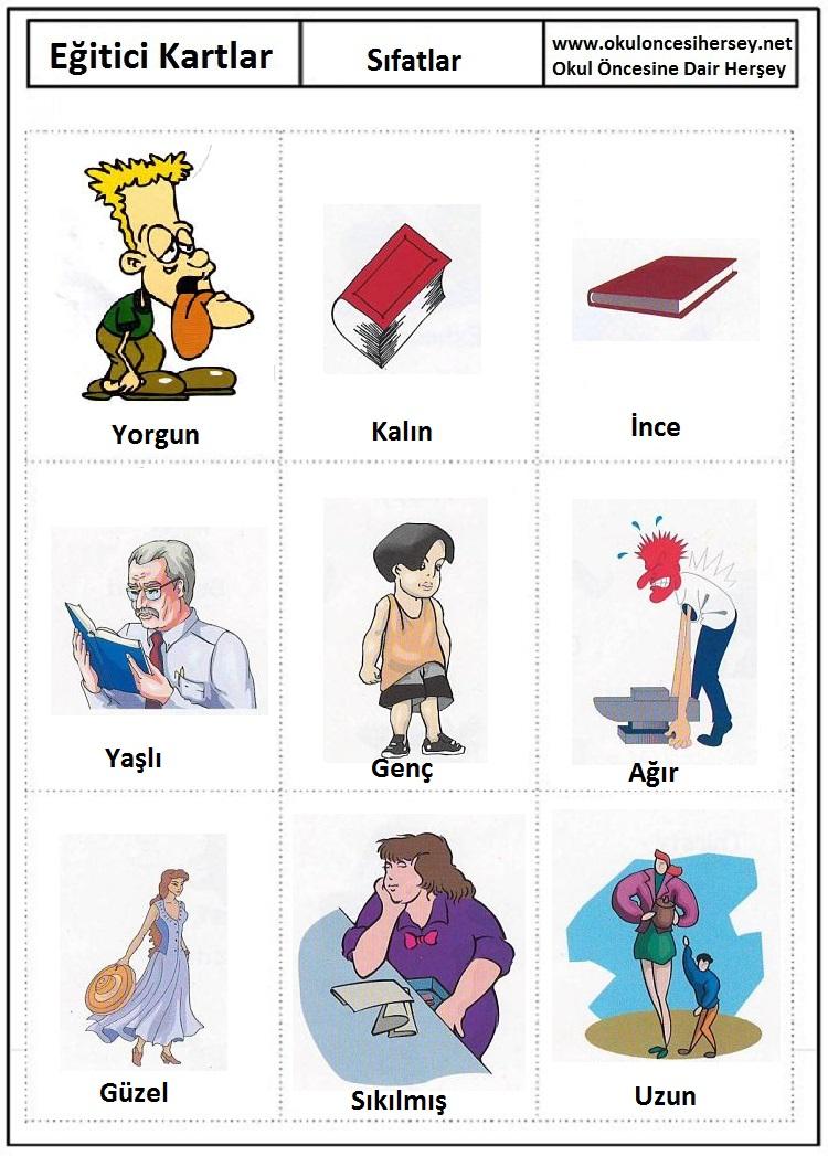 Okul öncesi sıfatlar eğitici kartları