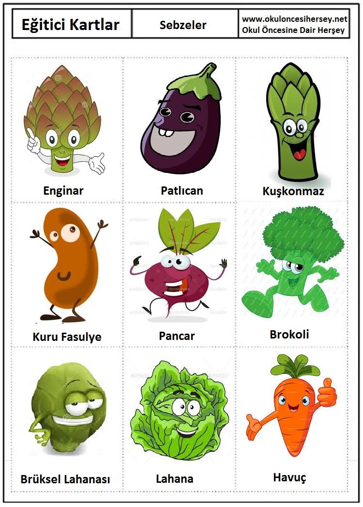 Eğitici kartları sebzeler eğitici kartları sebzeler eğitici