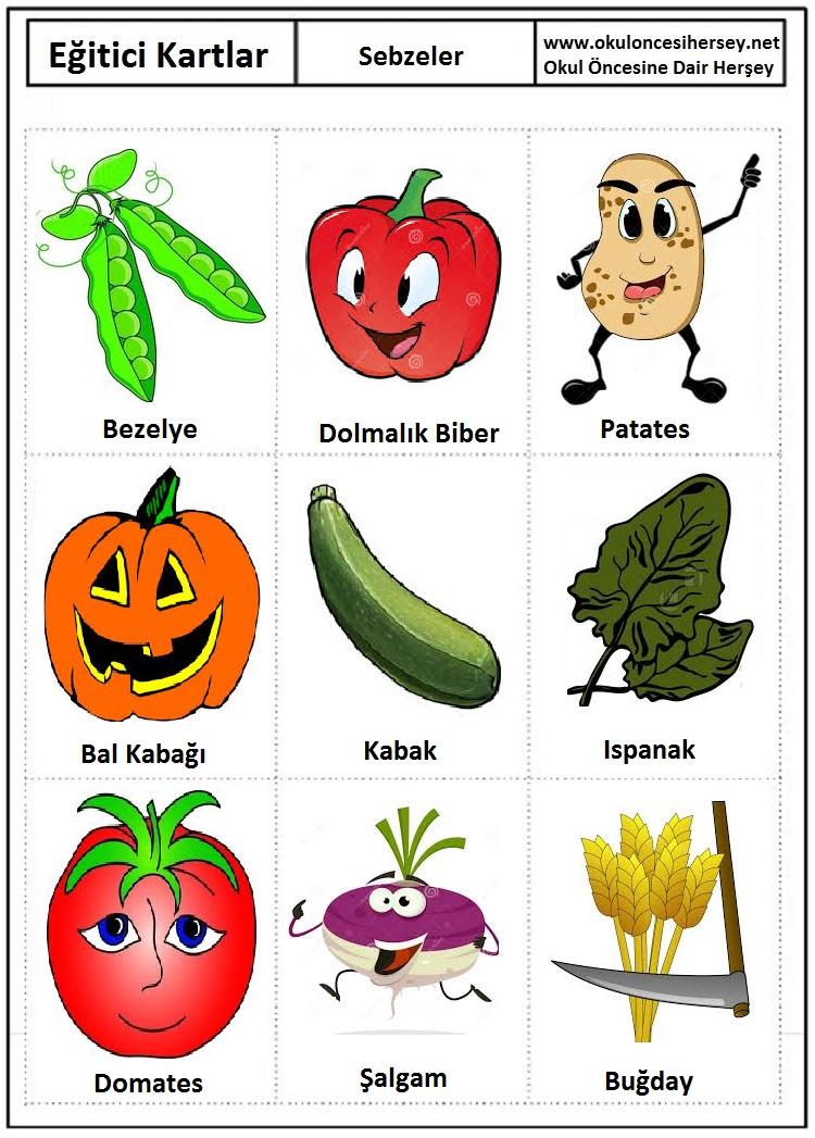 Okul öncesi sebzeler eğitici kartları