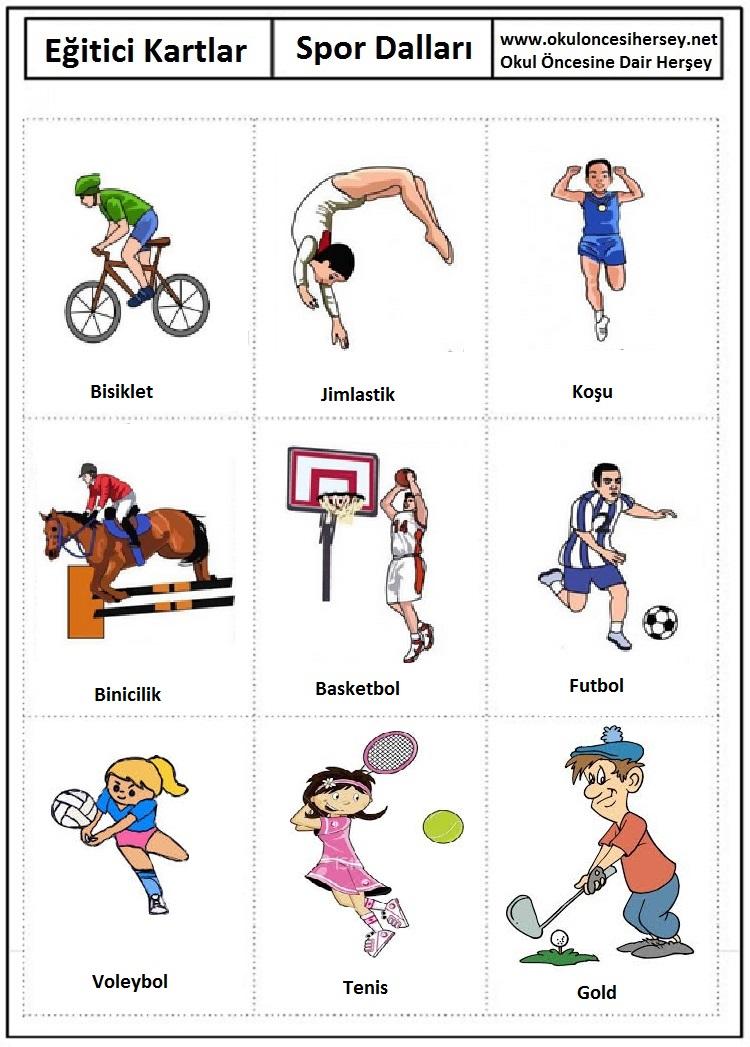 Spor dalları eğitici kartları spor dalları eğitici kartları spor