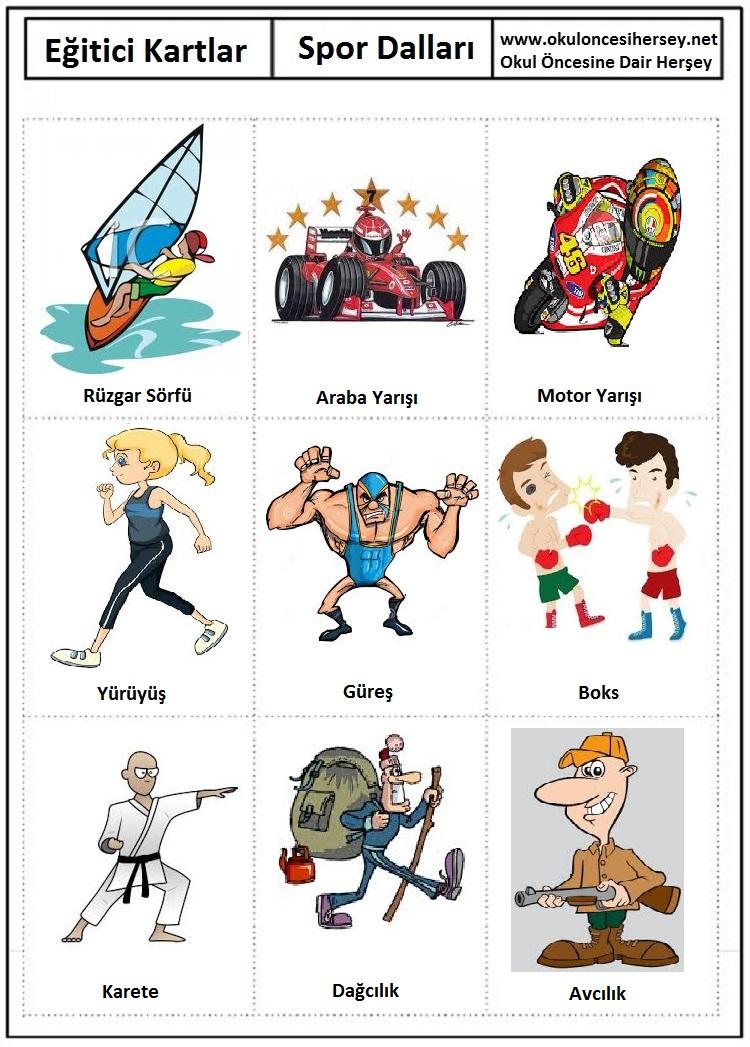 Okul öncesi spor dalları eğitici kartları