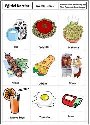 Yiyecek içecek eğitici kartları yiyecek içecek eğitici kartları