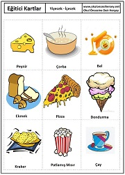 Okul öncesi yiyecek içecek eğitici kartları
