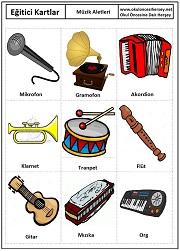 Okul öncesi müzik aletleri eğitici kartları gösterim 241