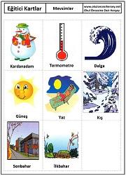 Okul öncesi mevsimler eğitici kartları
