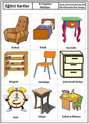 Okul öncesi mobilya eğitici kartları