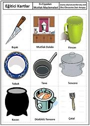 Okul öncesi emutfak malzemeleri eğitici kartları