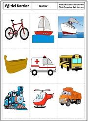 Okul öncesi taşıtlar eğitici kartları