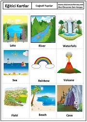 Okul öncesi coğrafi yapılar eğitici kartları