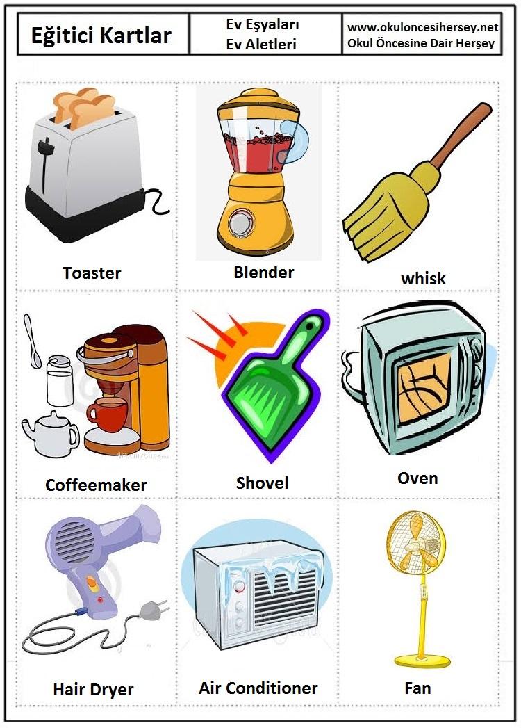 Aletleri eğitici kartları ev aletleri eğitici kartları ev aletleri