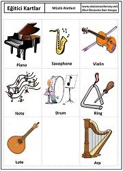 Okul öncesi müzik aletleri eğitici kartları