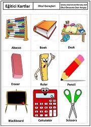 Okul öncesi okul gereçleri eğitici kartları