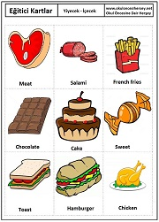 Okul öncesi yiyece içecek eğitici kartları